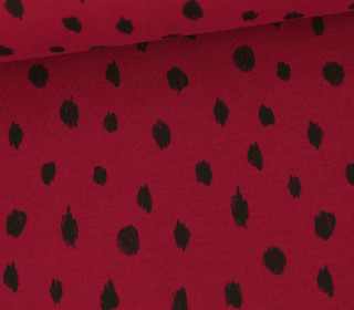Sommersweat – French Terry – Painted Dots – Poppy – Bordeaux