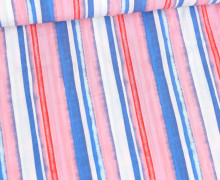 Viskose - Blusenstoff - Mehrfarbiges Streifenmuster - Himmelblau/Rosa/Rot/Weiß