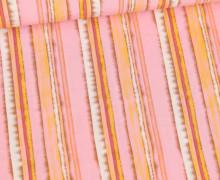 Viskose - Blusenstoff - Mehrfarbiges Streifenmuster - Maisgelb/Rosa/Braun/Weiß