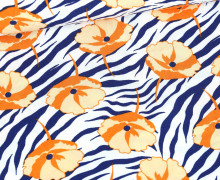 Viskose – Blusenstoff – Zebramuster Mit Blüten – Stahlblau/Orange