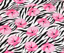 Viskose – Blusenstoff – Zebramuster Mit Blüten – Schwarz/Pink