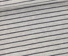 Sommersweat - French Terry - 2mm schmale Streifen - Hellgrau/Stahlblau