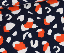Canvas - Baumwolle - Leo Animal Print - Stahlblau