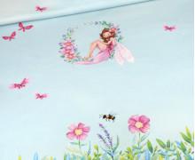 Jersey – Frühlingsfee – Paneel – Bio-Qualität – Himmelblau – Wildblume Illustration – abby and me