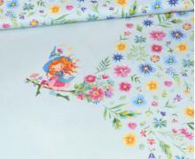Jersey - Frühlingshexe - Paneel - Bio-Qualität - Himmelblau - Wildblume Illustration - abby and me