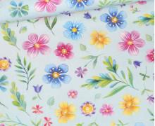 Jersey - Frühlingshexe - Kombistoff - Bio-Qualität - Himmelblau - Wildblume Illustration - abby and me