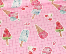 Jersey - Bio Qualität - I Like Ice Cream - Grid - Rosa - Treeebird - abby and me