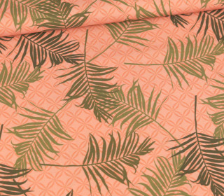 Badelycra - Badestoff - Tropical Palm Leaves - Koralle - abby and me