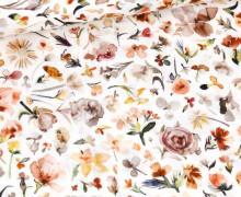 Musselin - Muslin - Aquarell Floral - Double Gauze - Weiß