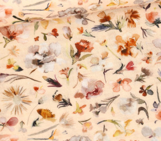 Musselin – Muslin – Aquarell Floral – Double Gauze – Apricot Hell