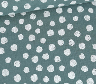 Musselin – Muslin – Painted White Dots – Double Gauze – Altgrün