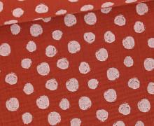 Musselin - Muslin - Painted White Dots - Double Gauze - Rostorange