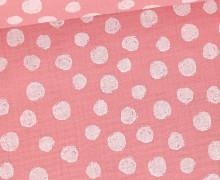 Musselin - Muslin - Painted White Dots - Double Gauze - Rosa