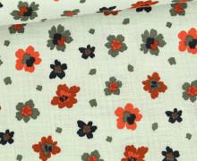 Musselin - Muslin - Painted Blossoms - Double Gauze - Lichtgrün