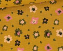 Musselin - Muslin - Painted Blossoms - Double Gauze - Senfgelb