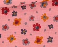 Musselin - Muslin - Painted Blossoms - Double Gauze - Altrosa
