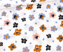 Musselin - Muslin - Painted Blossoms - Double Gauze - Weiß