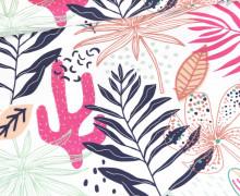 Jersey - Tropix - Cactus Pink - Bio-Qualität - Weiß - abby and me