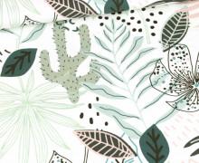 Jersey - Tropix - Cactus Mint - Bio-Qualität - Weiß - abby and me