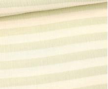Musselin - Muslin - Melange - Streifen - Double Gauze - Warmweiß/Pastellgrün