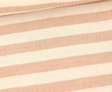 Musselin - Muslin - Melange - Streifen - Double Gauze - Warmweiß/Lachs