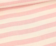 Musselin - Muslin - Melange - Streifen - Double Gauze - Warmweiß/Rosa