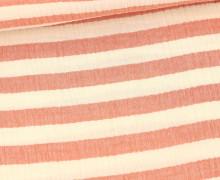 Musselin - Muslin - Melange - Streifen - Double Gauze - Warmweiß/Rot