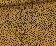 Viskose - Blusenstoff - Animal Print - Mini Leomuster - Senfgelb