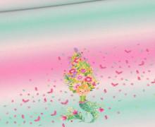 Badelycra - Badestoff - Blumen Nixe - Paneel - Rosa/Türkis - Wildblume Illustration - abby and me