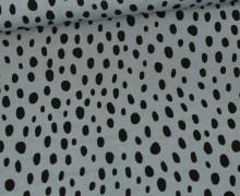Viskose Poplin - Blusenstoff - Schwarze Ungleichmäßige Punkte - Graublau