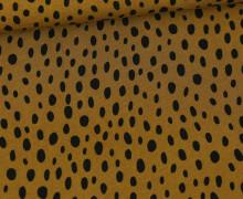 Viskose Poplin - Blusenstoff - Schwarze Ungleichmäßige Punkte - Olivgelb