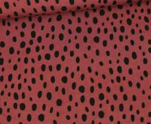 Viskose Poplin - Blusenstoff - Schwarze Ungleichmäßige Punkte - Altrot