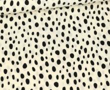 Viskose Poplin - Blusenstoff - Schwarze Ungleichmäßige Punkte - Warmweiß