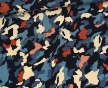 Viskose Poplin - Blusenstoff - Gezacktes Camouflage - Stahlblau