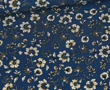 Viskose Poplin - Blusenstoff - Blumenranken-Muster - Meerblau