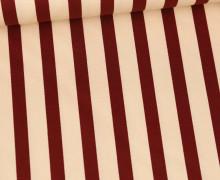 Baumwolle - Webware - Leicht Elastisch - Streifen - Fibre Mood - Ecru/Weinrot