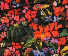 Fashionstoff - Plissee - Blumen - Fibre Mood - Schwarz