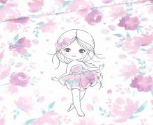 Sommersweat - Sweet Flower Girl - Paneel - Weiß - Bio Qualität - Nikiko - abby and me