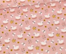 Bio Jersey - Organic Cotton - Kleiner Schwan - Altrosa