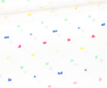 Baumwoll-Dobby - Baumwolle Webware - Bunte Quadrate - Weiß