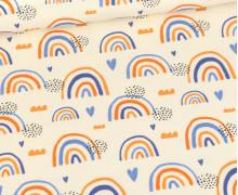 Sommersweat - Ecru - Bio Qualität - Regenbogen Liebe - Orange/Blau - abby and me