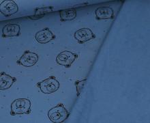 Bio Leichter Kuschelsweat - Organic Cotton - Teddygesichter - Jeansblau