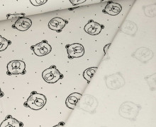 Bio Leichter Kuschelsweat - Organic Cotton - Teddygesichter - Lichtgrau