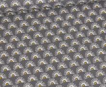 Baumwolle - Webware - Fächerblüten - Grau