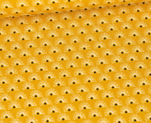 Baumwolle - Webware - Fächerblüten - Maisgelb