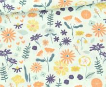 Bio Baumwolle - Webware - Organic Cotton - Lovely Flower Field - Mint