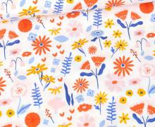 Bio Baumwolle - Webware - Organic Cotton - Lovely Flower Field - Weiß