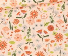Bio Baumwolle - Webware - Organic Cotton - Lovely Flower Field - Apricot
