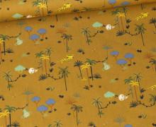 Bio Baumwolle - Webware - Organic Cotton - Little Safari - Senfgelb