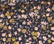 Baumwolle - Webware - Small Painted Flowers - Stahlblau